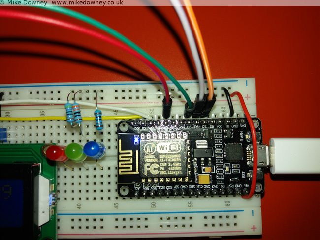 The NodeMCU board with the LCD1602 display