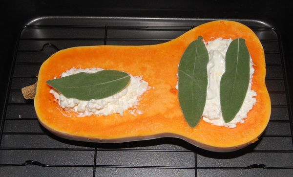 The squash before it went in the oven