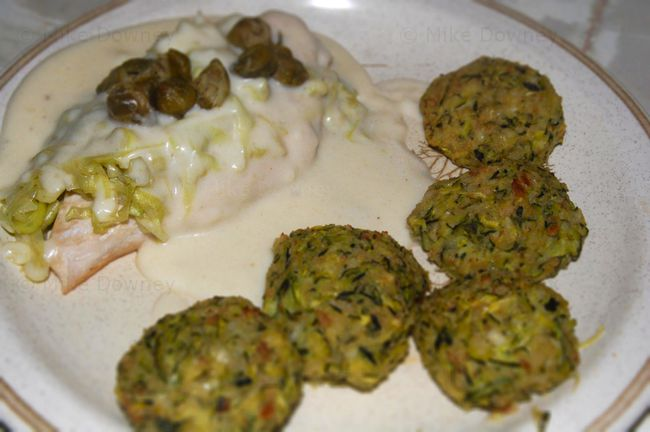 Chicken mornay with courgette dumplings