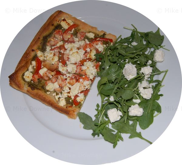 Crayfish and salsa verde tart