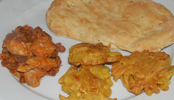 Onion Bhajis, Naan bread, chicken and chick pea curry