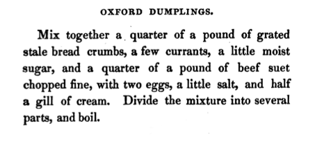 Oxford Dumplings, The Art Of Cookery (Mollard 1836)