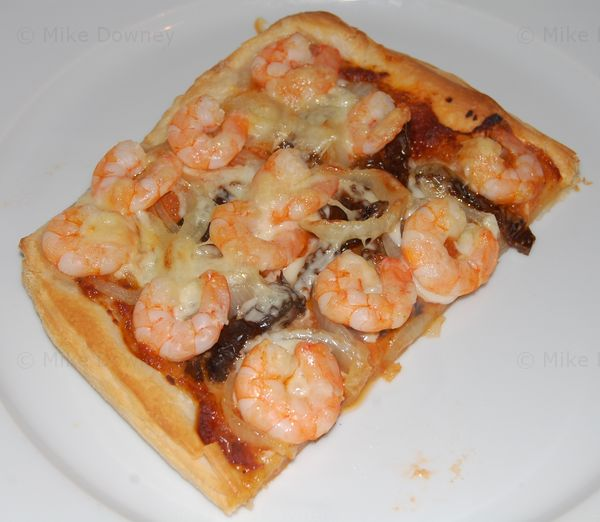 Prawn and smoked sheep's cheese tart