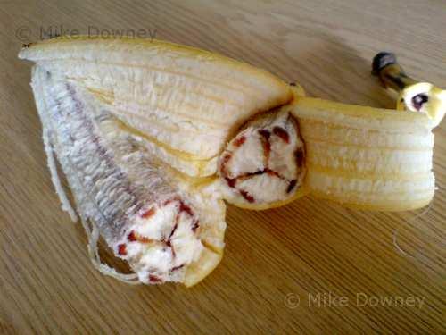 Strange banana with red bits