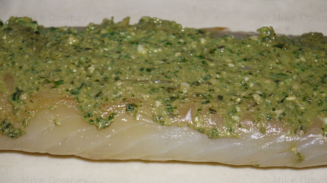 Smoked Cod with pesto sauce