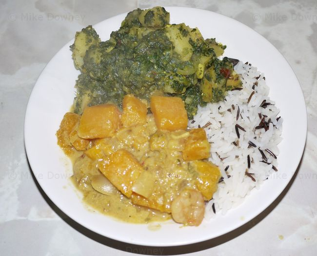 Saag Aloo and Butternut squash curry