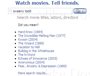 Facebook Movies application fails to find a match for a mis-spelt sweeney todd