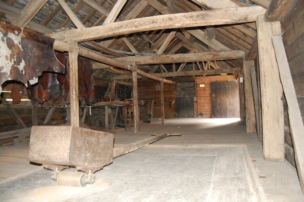 Inside an old barn